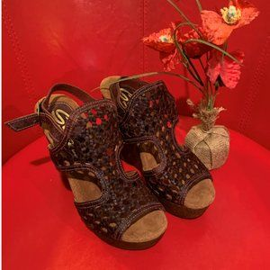 Sbicca Shoes - Sbicca Vintage Woven Leather Brown/Wine Wedges 8